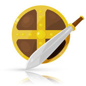 Shield and sword isolated on white background. Vector illustrati — Stock Vector