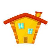 Casa amarilla con la azotea roja aislado sobre fondo blanco. dibujos animados — Vector de stock