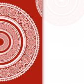 Invitation decoration on red background with lace ornament. Vect — Stok Vektör