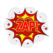 Cartoon ZAP! on a white background. Vector illustration. — Stock Vector