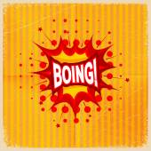 Cartoon blast BOING! on a yellow background, old-fashioned. Vect — Stock Vector