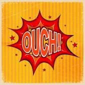 Cartoon blast OUCH! on a yellow background, old-fashioned. Vecto — Stock Vector