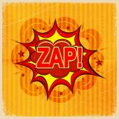 Cartoon blast ZAP! on a yellow background, old-fashioned. Vector — Stock Vector