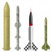 Set of rockets on a white background. Vector illustration. — Stock Vector