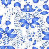 Seamless pattern in the Russian traditional style. Gzhel painted — Stock Vector