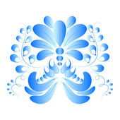 Blue flower isolated on a white background. Gzhel style. Vector  — Stock Vector