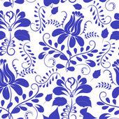 Blue seamless pattern. Flowers Gzhel. Vector illustration. — Stock Vector