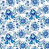Синий бесшовный образец цветов в gzhel разрабатывает на белом backg — Cтоковый вектор