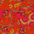Red seamless floral background. Doodle. Vector illustration. — 图库矢量图片 #58440623