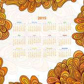 Calendar on a white background with an floral ornament Doodle. 2 — Stock Vector