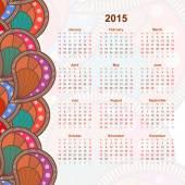 Calendar with flower design doodle. 2015. Ethno. Vector illustra — Stock Vector