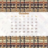 Calendar designed in the style of Tribal. 2015. October. Ethno.  — Stock Vector
