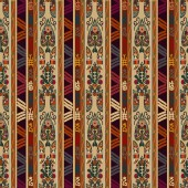 Colorful seamless background with floral ornament. Tribal style. — Stock vektor