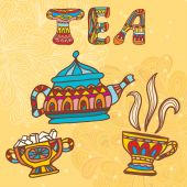 Tea doodles sketchy. Vector illustration. — Stock Vector