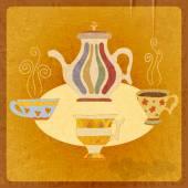 Retro background tea. Vector illustration. — Stock Vector