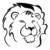 Silhouette of a lion's head. Symbol of the greatness and pride.  — Stock Vector