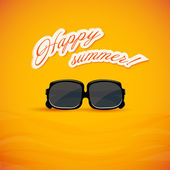 Bright yellow background. Sunglasses. Vector illustration. — Stock Vector