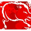 Red background with white silhouette of the wild boar. Watercolo — Stock Vector #69122819