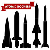 Set of atomic rockets. Vector illustration — Stock Vector