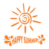 """Illustration sun sign with the text """"Happy summer!"""" Vector illus — Stock Vector"""