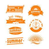 Summer design elements design. Retro and vintage templates. Vect — Stock Vector
