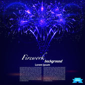Bright colorful fireworks on a blue background. Holiday card. Ve — Stock Vector