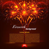 Bright colorful fireworks on a red background. Holiday card. Vec — ストックベクタ