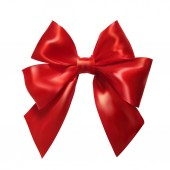 Realistic red bow on a white background. Silk ribbon. Vector ill — ストックベクタ