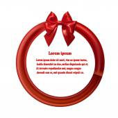 Round design element with red ribbon and bow. Vector illustratio — Stockvector