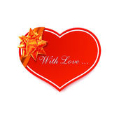 Red romantic Heart with golden bow — Stock Vector