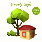 Green tree and a rustic house on a white background. Low poly st — Stock Vector