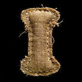 Linnen of hennep vintage doek de letter i — Stockfoto