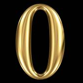 Golden shining metallic 3D symbol number zero — Stock Photo