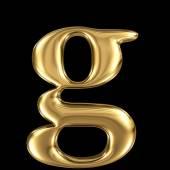 Golden letter g lowercase high quality 3d render — Stock Photo