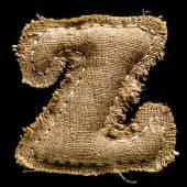 Linen or hemp vintage cloth letter Z — Stock Photo