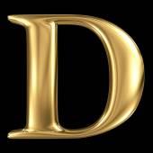 Golden 3D symbol capital letter D — Stock Photo