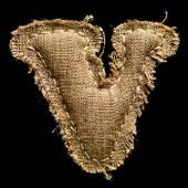 Linen or hemp vintage cloth letter V — Stock Photo