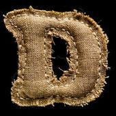 Linen or hemp vintage cloth letter D — Stock Photo