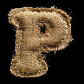 Linen or hemp vintage cloth letter P — Stock Photo