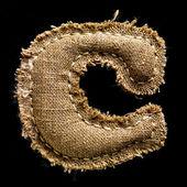 Linen or hemp vintage cloth letter C — Stock Photo