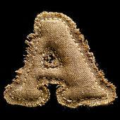 Linen or hemp vintage cloth letter A — Stock Photo