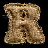 Linen or hemp vintage cloth letter R — Stock Photo