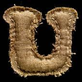 Linen or hemp vintage cloth letter U — Stock Photo