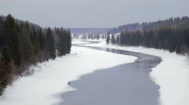 Winter landscape River — Stock Video