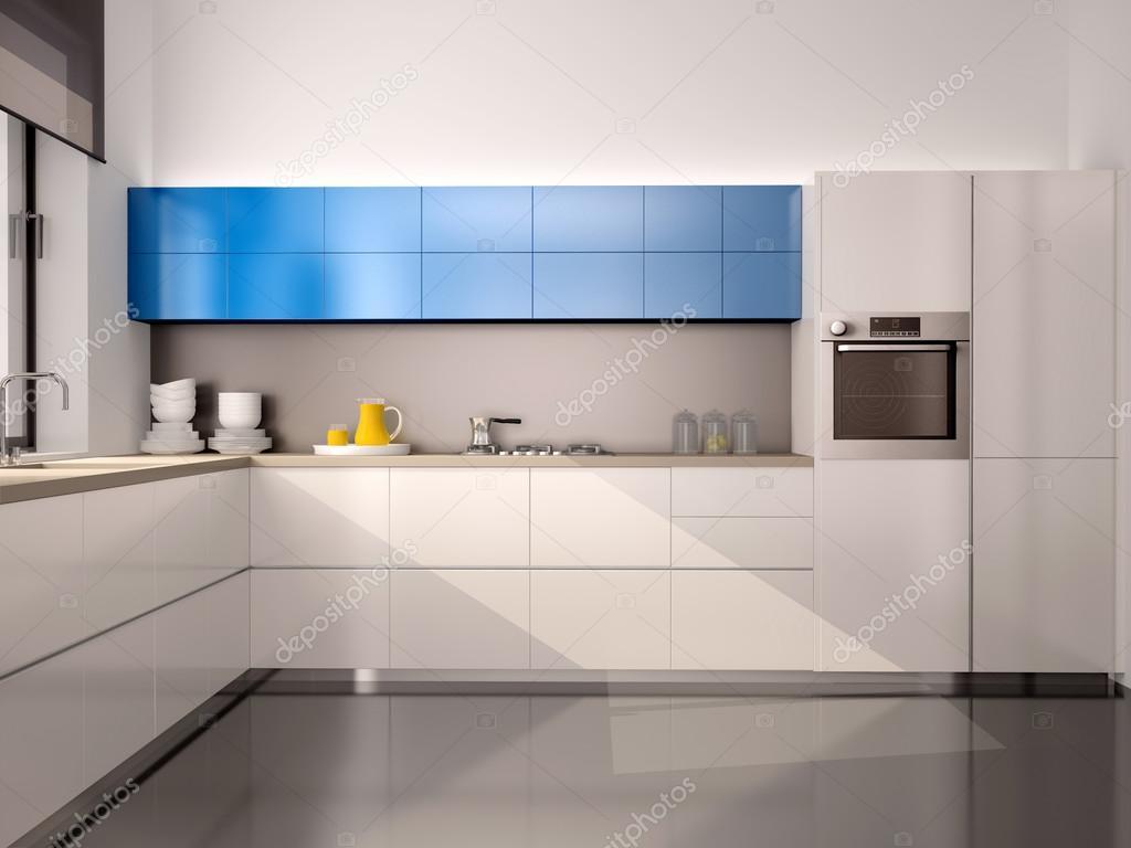 흰색 청색 회색에서 현대 부엌의 인테리어의 3d 그림 — 스톡 ...