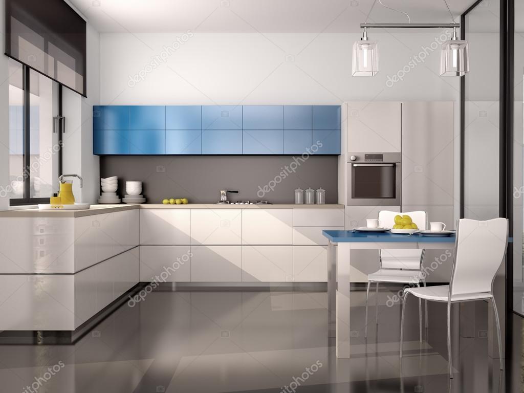 3d illustratie van interieur van moderne keuken wit blauw grijs stockfoto 104399320 - Keuken blauw en wit ...
