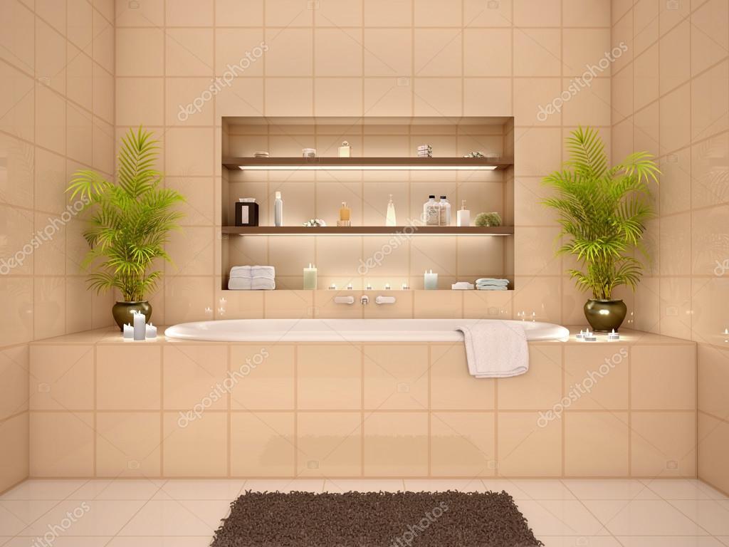 3d illustration av badrum inredning i varma toner med nischer jag ...