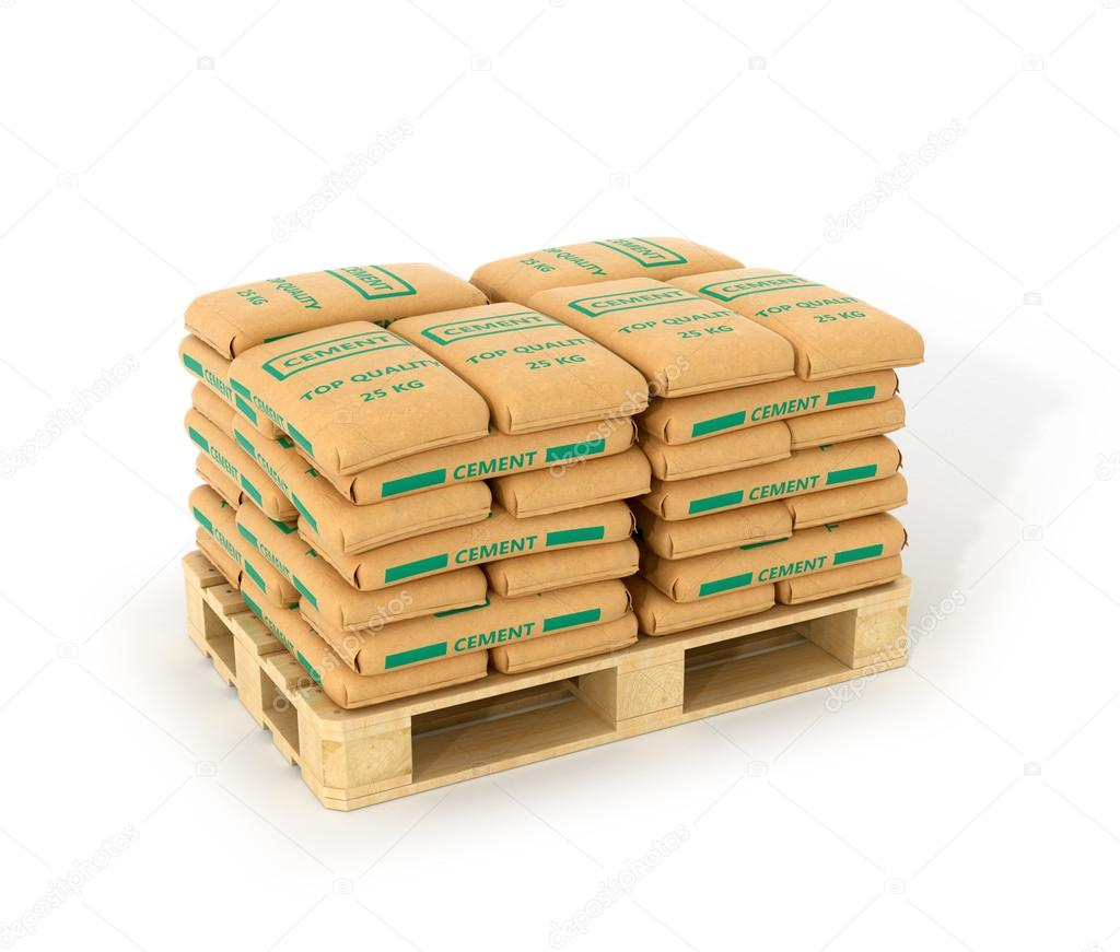 Cement Bags Stack On Wooden Pallet Isolated On White