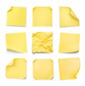 Collection of yellow stickers with curled on an isolated white b — Stockfoto