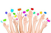 Group of Diverse Multi Ethnic Hands Reaching for Speech Bubbles — Stock Photo